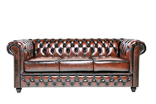 Chesterfield Showroom - Original Chesterfield Sofa / Couch - 1+2+3-Sitzer - Echtes Leder handgewischt - Antik-braun - 4