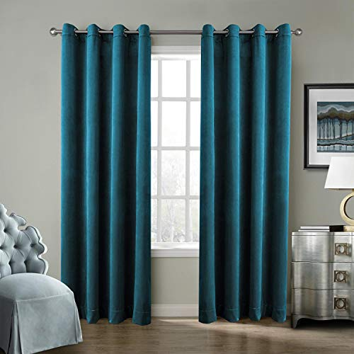 ChadMade Blackout Lined Premium Velvet Curtain Blue 100Wx108L inch (1 Panel), Eyelet Grommet for Livingroom Bedroom Theater Studio, Birkin Collection