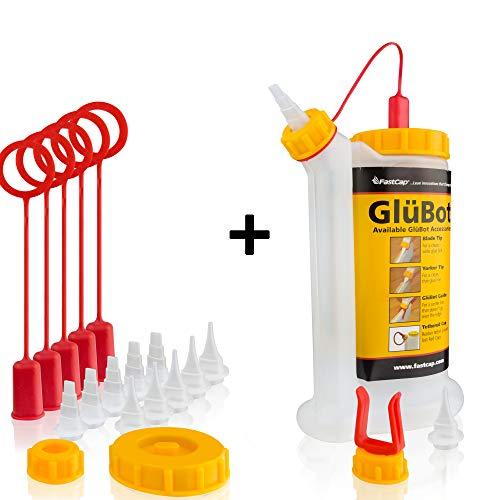 FastCap Original GluBot Leimflasche - Perfekt für sauberes & präzises Auftragen von Holzleim - Leimspender (ca. 500 ml) (GluBot + Zubehör)