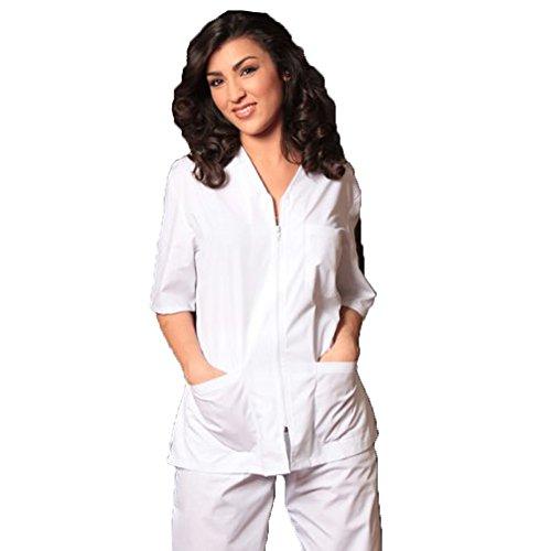 'Anzug Krankenhaus Damen mit Reißverschluss Jacke + Hose V-Ausschnitt
