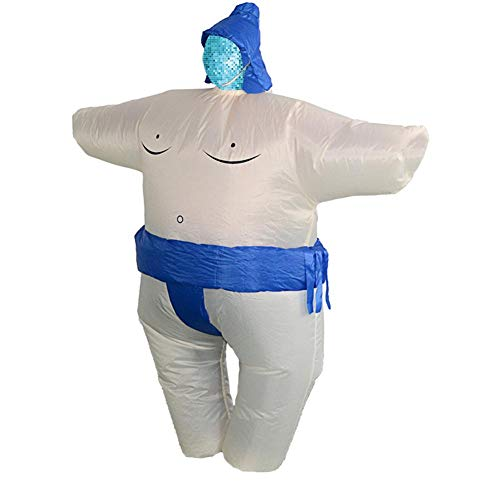 (Matefield Sumo Wrestler Aufblasbare Kostüme Party Kleid Cosplay Anzug Performance Rep, blau)