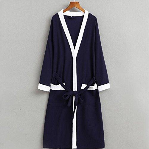 Ohlive–accappatoio da uomo in cotone pigiama manica lunga per sauna accappatoio, marina militare, x-large