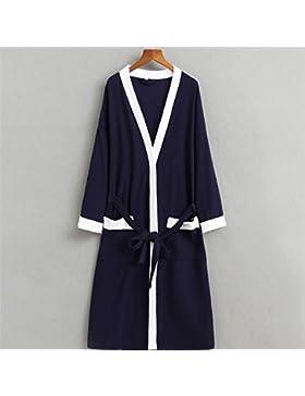 Andensoner Cómodo Bata de Toalla de Sauna de Mangas largas de Pijamas de algodón para Hombres
