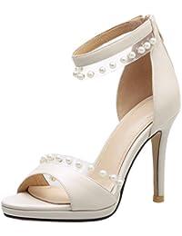EOZY Femme Sandales Ete Sangle Cheville Talon Bloc Talon Haut Chaussures Perles Club Soiree
