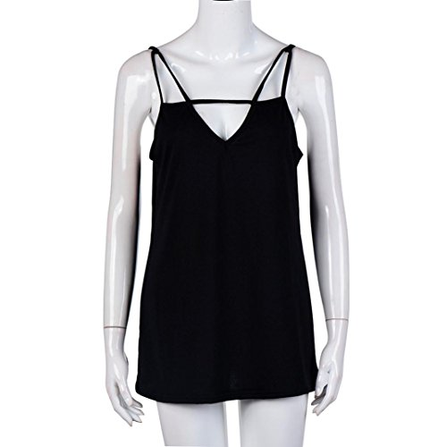 Femmes Hauts sans manches , Transer ® Sexy femmes Backless Tops courts lâche T Shirt réservoir Noir