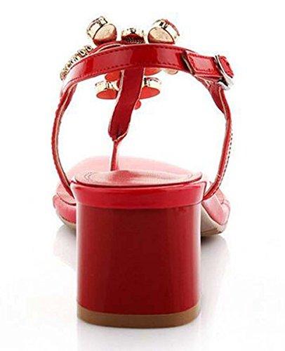 Beauqueen Pumps Sandalen Sommer Mädchen Frauen Einfache Strass Niedrige Fersen Vintage Casual Beach Schuhe Rot Und Rosa Europa Standard Größe 34-39 Red