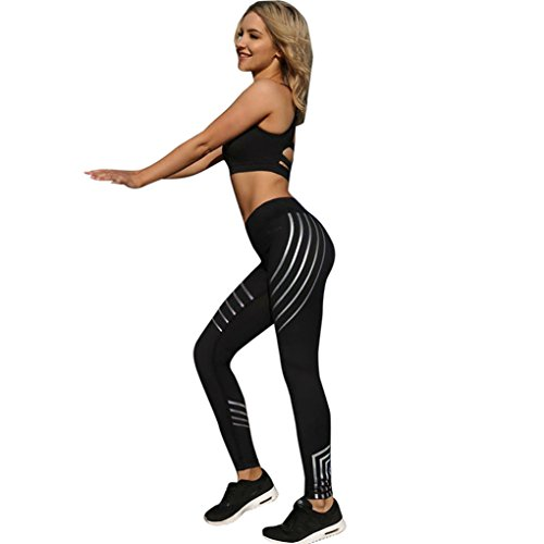 Vovotrade ☆☆Frauen Skinny Leggings von Patchwork Mesh Yoga Leggings (Size:S, Schwarz) (Fit-push-up-bh Klein Calvin Perfekt)