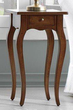 Arredamenti Rustici Beistelltisch aus Pappelholz mit Schublade–Walnuss