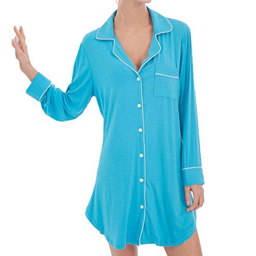 Yying Frauen Modal Nachthemden Sleep Sexy Langarm Sleeve Shirt Kleid Casual Frau Vintage Nachtwäsche Kleid Sky Blue L (Modal-jersey-kurz)