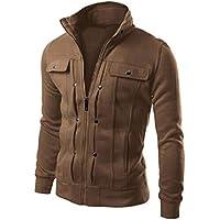MEIbax sweatshirts Chaqueta Casual de Algodón para Hombre Sudaderas Chaqueta de la Capa de la Solapa de la Solapa diseñada Delgada para Hombre de la Moda