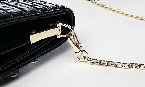 Mode Handtaschen, Handtaschen, weibliches Leder große Kapazität europäischen und amerikanischen Diamant-Dinner-Paket, Leder Ordner Tasche ( Farbe : Silber ) Schwarz