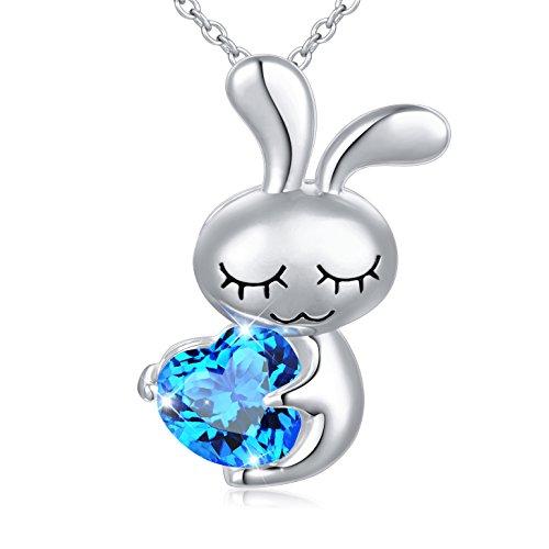 DAOCHONG Frauen Mädchen Halskette 925 Sterling Silber niedlichen Kaninchen Halskette blau Herz Tier Anhänger Halskette Präfekt Mutter Frau Tochter, Kette 18 Zoll (Ich Drucken Tun)