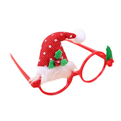 Makefortune Christmas Funny Brillengestell mit Kappe, Weihnachtsfeier Requisiten Dress Up Glasses