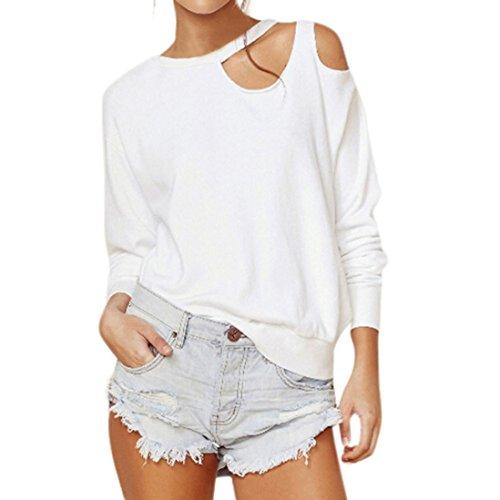 Hffan Mode Damen Aus Schulter O-Ausschnitt Frühling Sommer Crop Tops Solide Shirts Langarm T-Shirt Frauen Casual Bluse Plissee Tunika Pullover Sweatshirt Blouse (Blanco, M) (Hals Plissee)