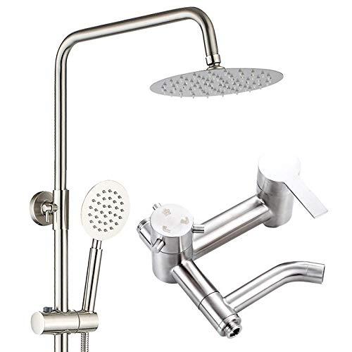 Kutera Duschsystem 3-Gang-Booster-Duschset Wasser sparende Brausebatterie aus Edelstahl Mix Brause Nickel gebürstet (Nickel Brause Gebürstet)