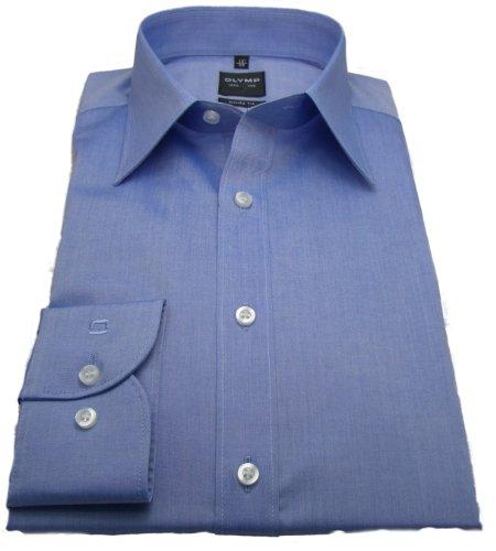 Olymp Herren Hemd Level 5 Body Fit Chambray blau 2080 64 19, Größe 40
