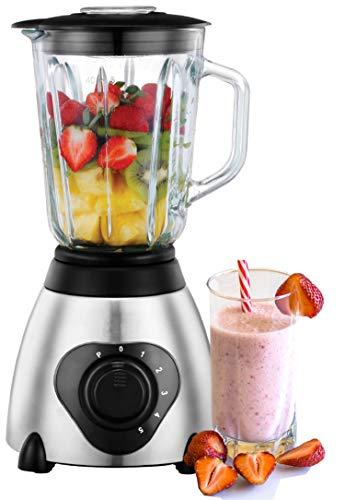 Standmixer Glas Edelstahl | 1,5 Liter|  BPA Frei | 600 Watt | Smoothie Maker | Universal Power Mixer | Zerkleinerer | Ice Crusher | Shaker | Glasbehälter | 24.000 U/min