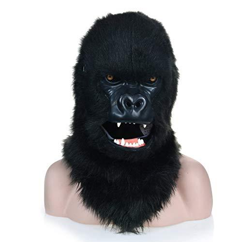 LUANAYUN-TOYS Kopf Tiermaske Heißer Handgemachte Halloween Schwarze Gorilla Tiermaske mit Mundschneider Tierkopfmaske Tiermaske ( Color : Black , Size : 25*25 )