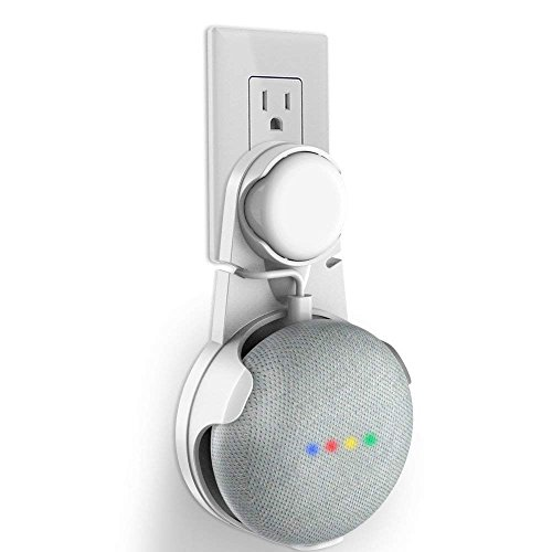 Delhisalesmart Wall Mount Stand Hanger for Google Home Mini Voice Assistants with Chord (White)