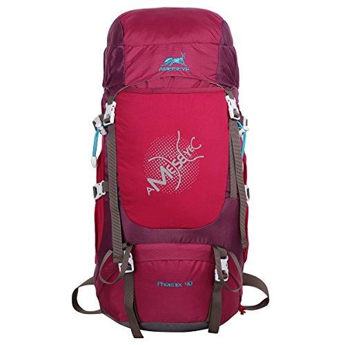 Imagen de eshow 40l  de senderismo al aire libre de nailon impermeable  montaña  de viaje para hombre y mujer color rojo oscuro