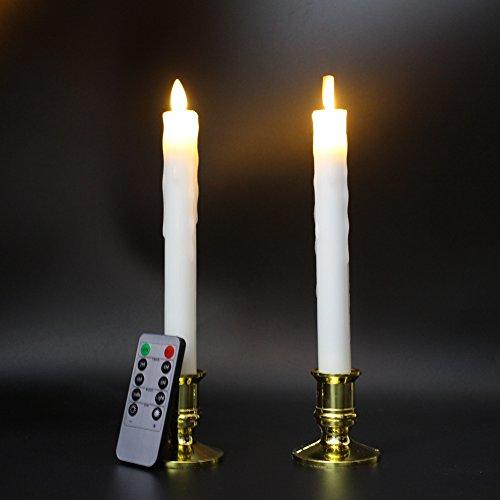 lukloy–Set de 2sin llama cera de gotas de LED velas alargadas, Moving Wick Con Control Remoto y Temporizador de 10teclas regulador de intensidad, Dancing Flame 9