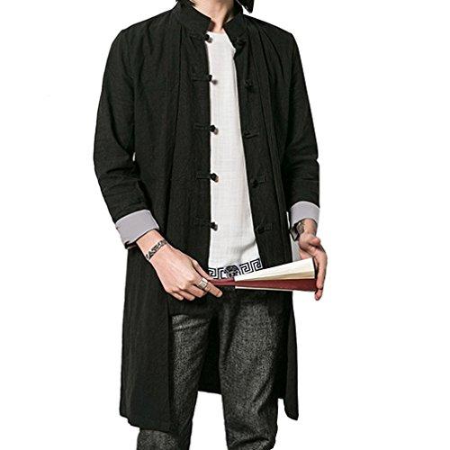 Honghu Manche Longue Manteaux Homme Noir