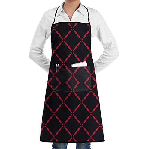 heefan Double Pockets Chefs Apron, Lovely Lady Funny Apron Restaurant Kitchen Aprons for Women Girls with Pocket (Black Bowling Pins)