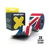 SPORTTAPE Extra Sticky Kinesiology Tape, 5cm x 5m - Great Britain - Hypoallergenic, Waterproof K Tape Physio Tape for Muscle Injury, Support