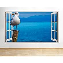 D237gabbiano di mare oceano finestra decalcomania da parete adesivi 3D Art Vinyl Room