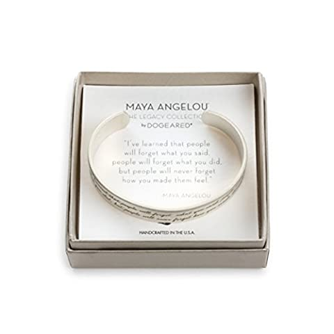 Dogeared Sterling Silver Plated Maya Angelou How They Made You Feel Engraved Quote Cuff