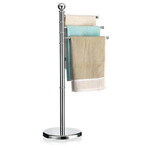 Handtuchhalter PETRA Handtuchständer Badetuchständer mit 3 beweglichen Handtuchstangen, Metallgestell verchromt