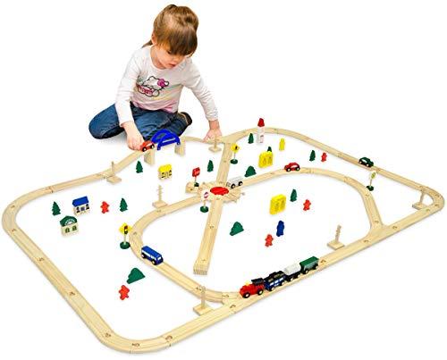 eyepower Train en Bois + Rails + Accessoires 140x110cm | env 6m de chemin de fer | 96 pièces | extensible compatible jeu créatif