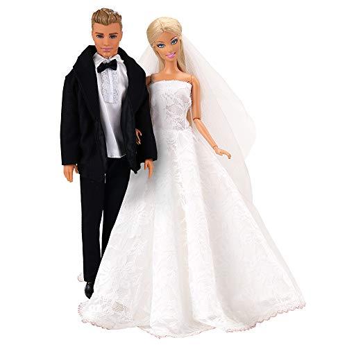 Miunana Formales Anzug Kleid Kleidung Abschlussball Hochzeits mit Brautschleier für Barbie Puppen Und KEN