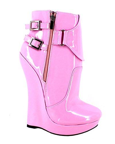 Wonderheel wedge Lackleder fetisch pink Kurzschaft stiefel ankle boots (Ankle Boots Fetisch)