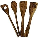 Madera de Olivo Utensilios de cocina 4piezas Olivas de madera de espátula cuchara cuchara Set