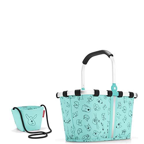 reisenthel Kids Einkaufsset 2er Set Carrybag XS/Einkaufskörbchen und Kleine Tasche/minibag in Dem Trendigen Design Cat´s & Dog´s (Mint)