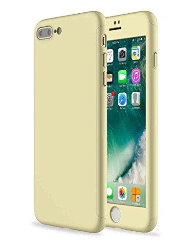 Custodia iPhone 7 Plus Full Body Ultra Sottile Morbido TPU Protettiva Cover Case + Vetro Temperato Proteggi Schermo 3 in 1 Design Front & Indietro Caso&Vetro Film Lusso Protezione Completa (oro rosa) Oro