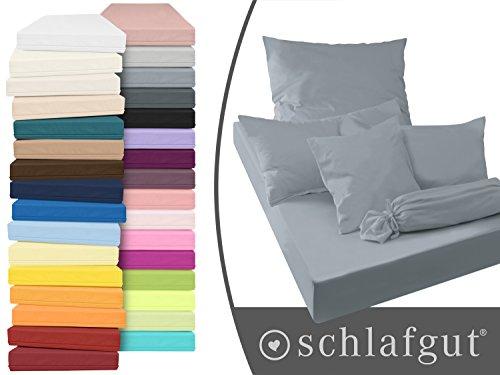 Serie basic von schlafgut aus 100% Baumwolle in 30 Uni-Farben +++ Mako-Jersey-Spannbetttuch +++ Mako-Jersey-Kissenbezug erhältlich in 3 Größen, graphit, Kissenbezug 40 x 40 cm