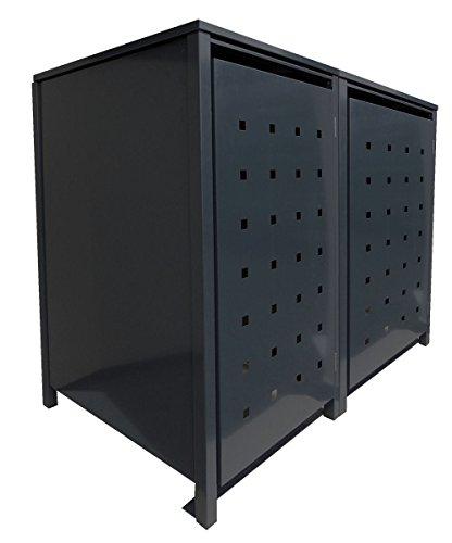 *BBT@ | Solide Mülltonnenbox für 2 Tonnen je 120 Liter mit Klappdeckel in Schwarz (RAL 9005) / Stanzung 3 / Aus robustem pulver-beschichtetem Metallblech / Versch. Farben + Blech-Stanzungen erhältlich*