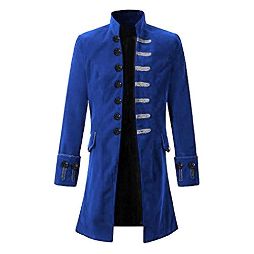 Anywow Herren Steampunk viktorianischen Mantel mittelalterlichen Jacke Viking Renaissance formalen Frack Gothic Tuxedo Stehkragen Mantel Halloween - Herren Kostüm Mittelalterliche Muster
