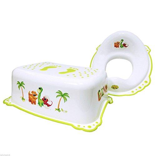 Supreme Baby Kleinkind Töpfchen WC Training Sitz und Schritt Hocker 2Set–Dino weiß