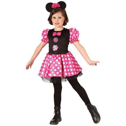 Disney Pluto Kostüm (MÄUSE MÄDCHEN KOSTÜM FÜR KINDER IN 3 VERSCHIEDENEN GRÖßEN= DAS ZEICHENTREICK MÄUSE KOSTÜM IST EIN KLEID IN ROSA/SCHWARZ MIT WEISSEN PUNKTEN UND KURZEN PUFFÄRMELN= DAS KLEID KOMMT MIT EINEM HAARBAND)