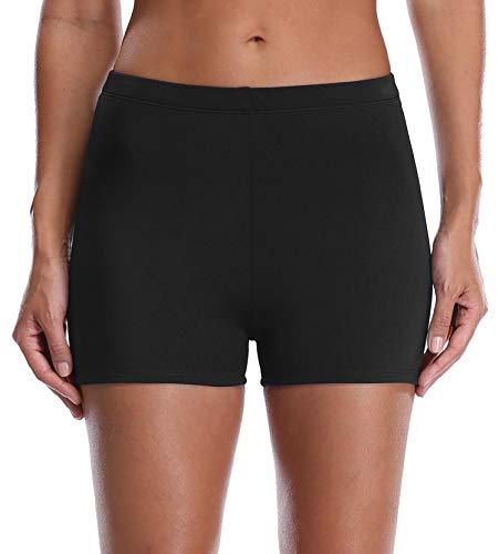 Anwell Damen Übergröße Schwimmen Kurze Hose Bikini Strandkleidung Schlüpfer Unterhose Schwarz 44