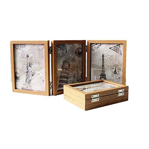 Schmuckvolle Einrichtungsgegenstände als Geschenke von Xshelley, 3solide Holzrahmen, doppelt klappbarer Rahmen, doppelseitiger Bilderrahmen, 180-Grad-Rotation, kreatives Fotostudio, Fotoalbum, holz, farblos, 10 x 15 cm