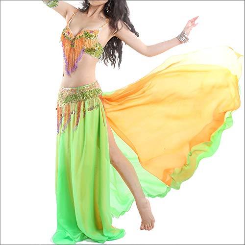 Ljleey-CL Damen Tanzrock Bauchtanz Kostüm Frauen Sexy Tribal Bauchtanz BH Gürtel Karneval Kostüm Anzug, Spandex, gelb, M (Sexy Tribal Kostüm)