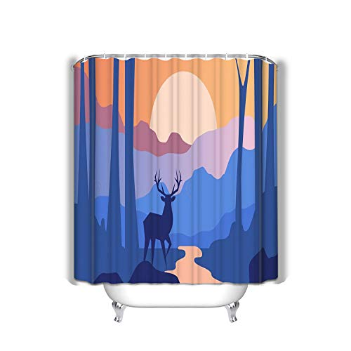 hyjhytj Beach Shower Curtain Beautiful Scene Nature Peaceful Landscape Forest Deer Evening time Template Banner Poster Magazine Cover Fabric Bathroom Decor 60 X 72 Inch