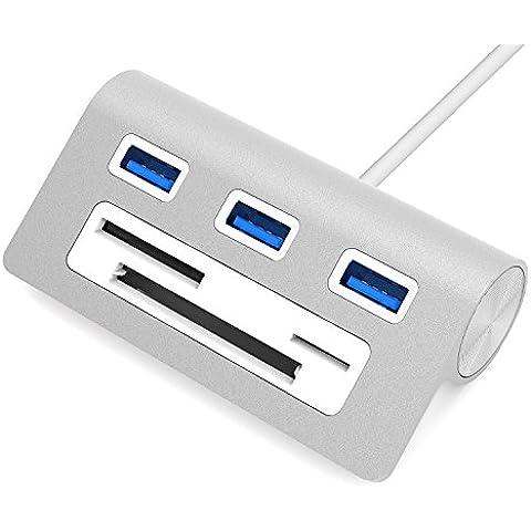 Sabrent Hub 3 porte USB 3.0 Premium alluminio con lettore card Multi-in-1 (cavo 30 cm) per iMac, MacBook, MacBook Pro, MacBook Air, Mac Mini, o un qualsiasi PC (HB-MACR)
