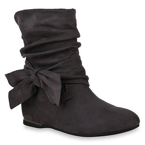 n Schuhe Stiefeletten Keilstiefeletten Leicht Gefütterte Stiefel 146206 Grau Brooklyn 38 Flandell (Damen Grau Keil Stiefel)