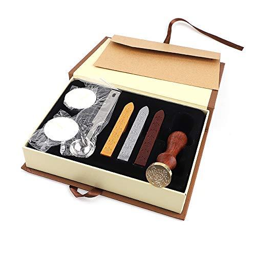 JacklIn-F Personalisierte Wachssiegel Stamp Kit, Hochzeitseinladungen Geschenkkarten Papier Briefpapier Umschlag Dichtungen Custom Logo Vintage Wachs Versiegelung Stempel Wax Sticks