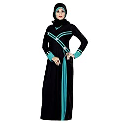 Aagaman Amiable Black Colored Stone Worked Lycra Burka 1535 L